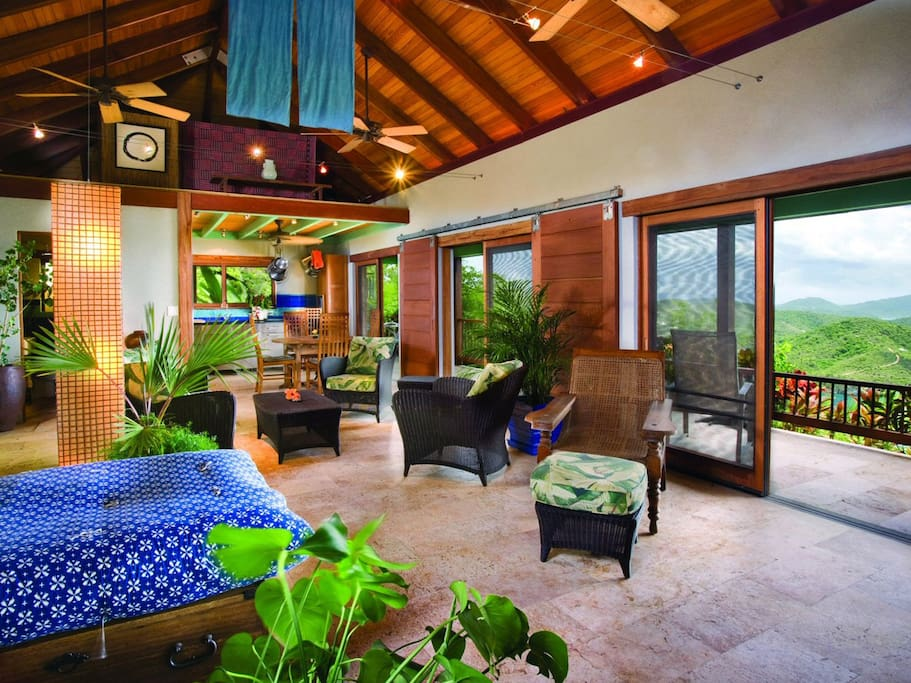 Living area in this small luxury villa is open and architecturally designed--but, still warm and cozy.