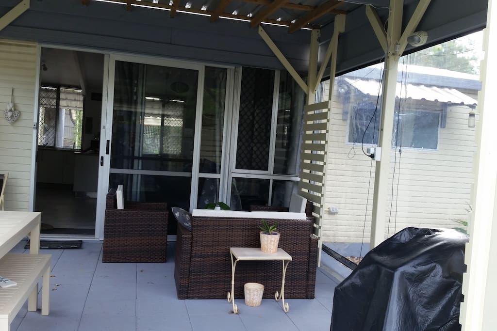 A weatherproof patio is great for BBQ's and eating all meals . Happy to turn the BBQ on if you feel like cooking outside.