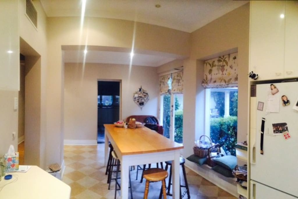 Kitchen with warm North facing windows for winter sun, great for coffee with beautiful view.
