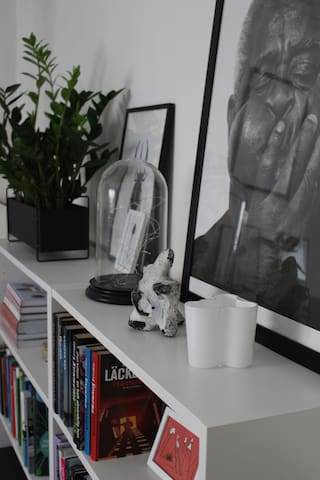 Sitting room with books, plants and artwork