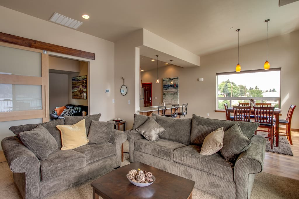 Kick back & relax on the plush living room couches.