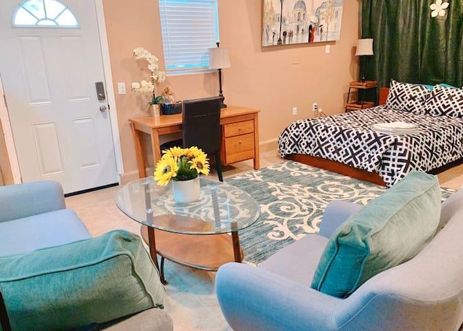 Entire large suite, private bath, parking, laundry