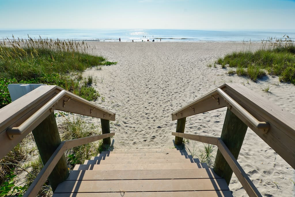 Cocoa beach welcomes you!  Private beach entrance approximately 200 feet from our front door.
