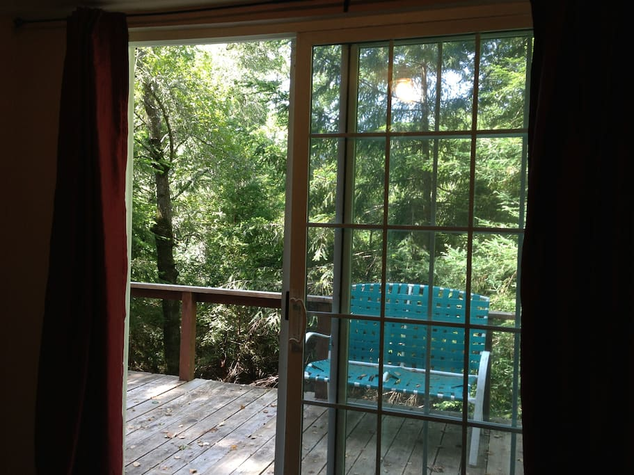 Sliding glass doors out to the private deck