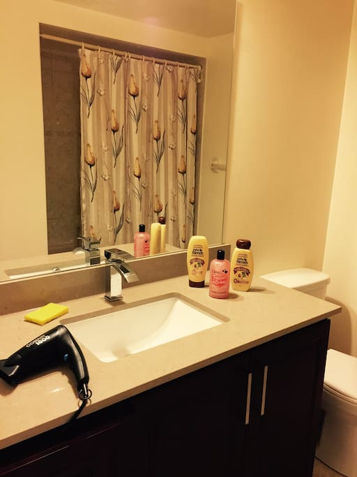 Spacious Clean & Tidy Washroom with brand new faucet & basin & cabinet