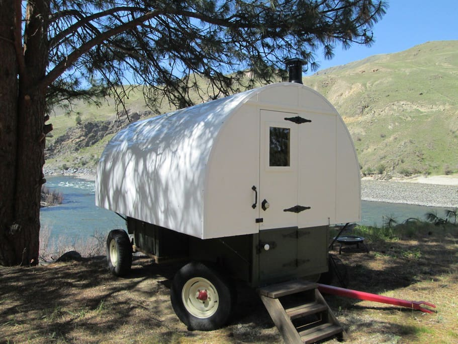 river view sheep wagon in lucile idaho united states