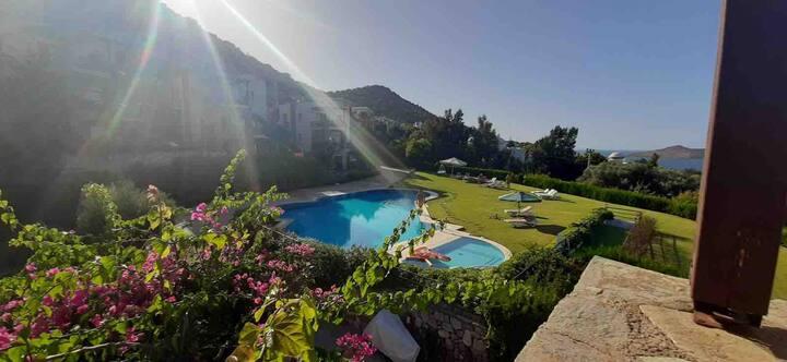 Bodrum Yalikavak with beautiful sea and pool view