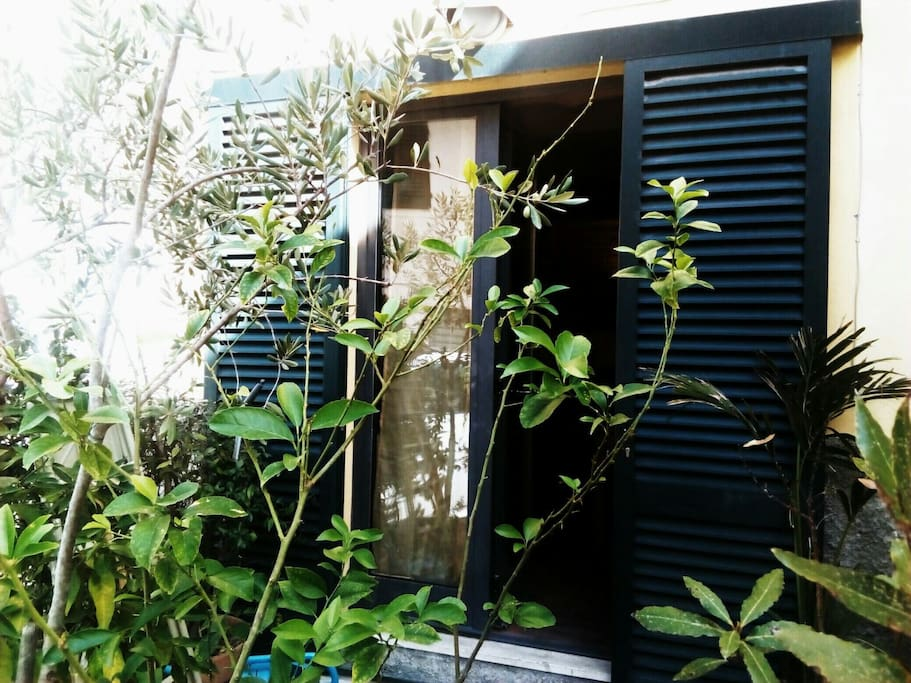 A private entrance door in a quiet neighbourhood
