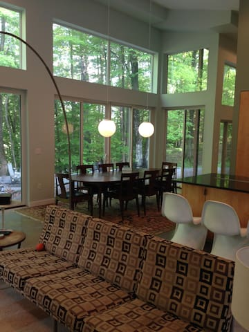 Glass Home On Delaware River Catskills Poconos - Damascus - Casa