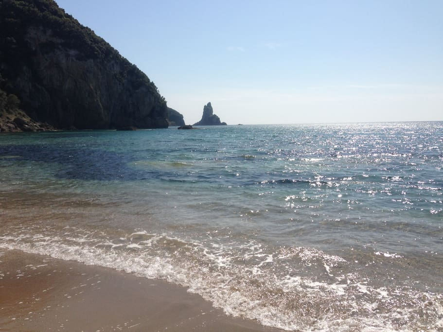 Agios Gordios beach, 4 minutes walk down the hill