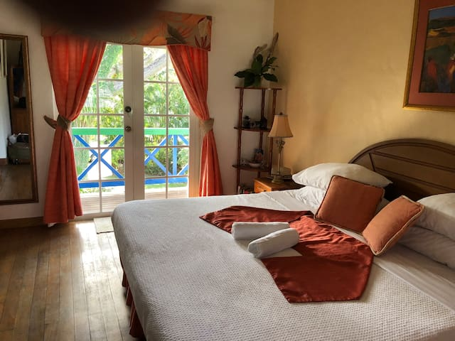 The Master Bedroom looking onto the Samaan Tree-shaded gardens of the House....