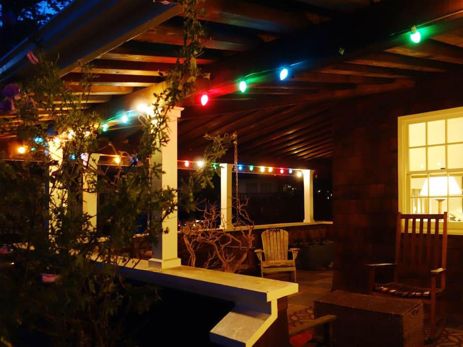 Front porch at night.