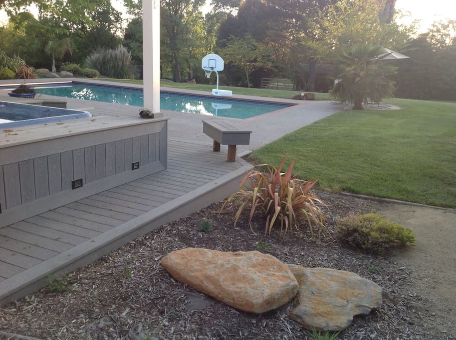 View of pool from the hot tub
