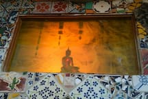 Living room stained glass window with buddha ©2o16 perry hoffman