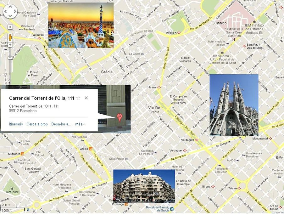 The flat is just in the middle of the famous Gaudi's triangle, that is Sagrada Familia, La Pedrera and Parc Guell, great!