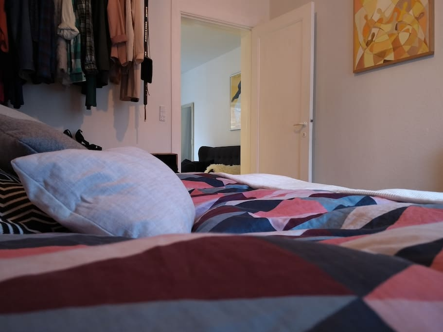 A big and comfortable queen size palettes bed provides a great nights sleep.