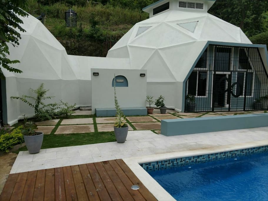 View of domes from pool deck.