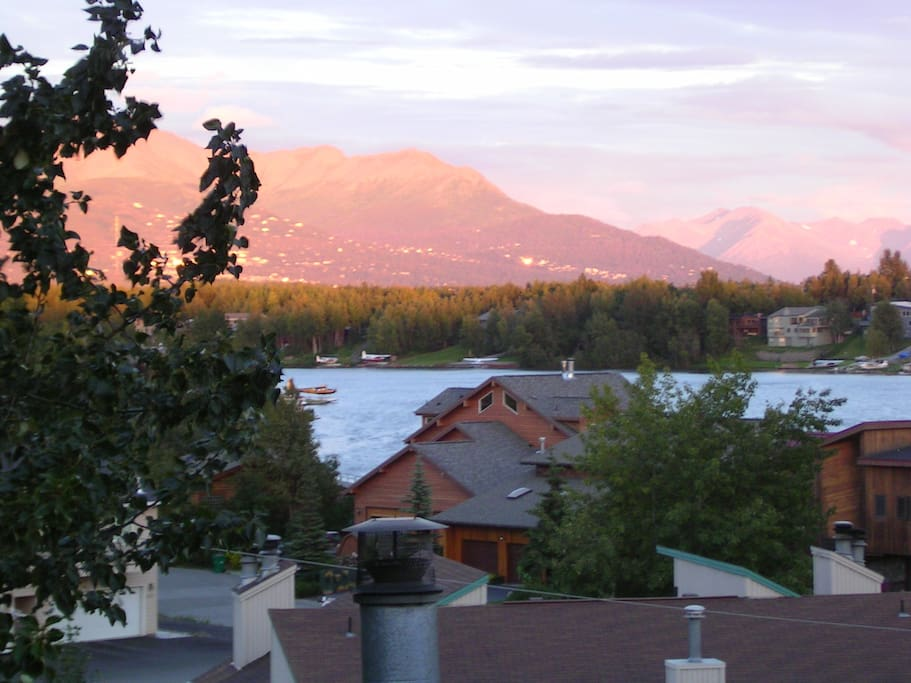 View of Chugach Mountians across Campbell Lake