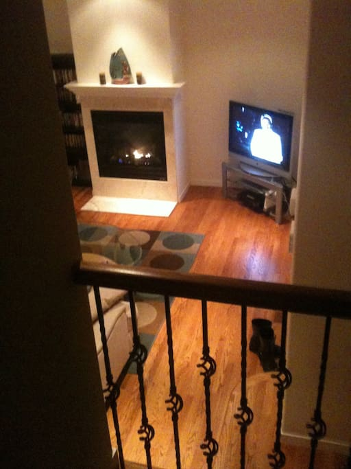 Looking down to family room