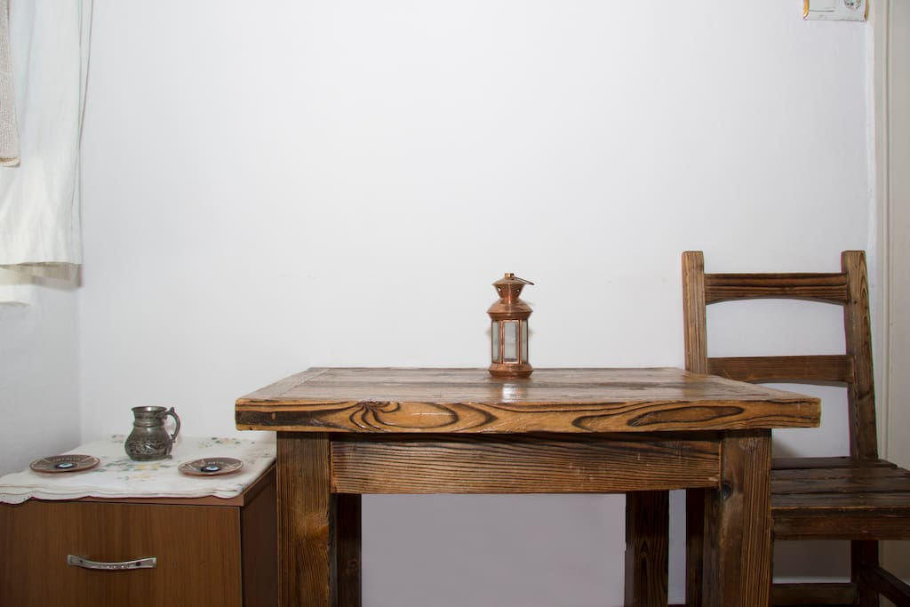hand-crafted wooden desk