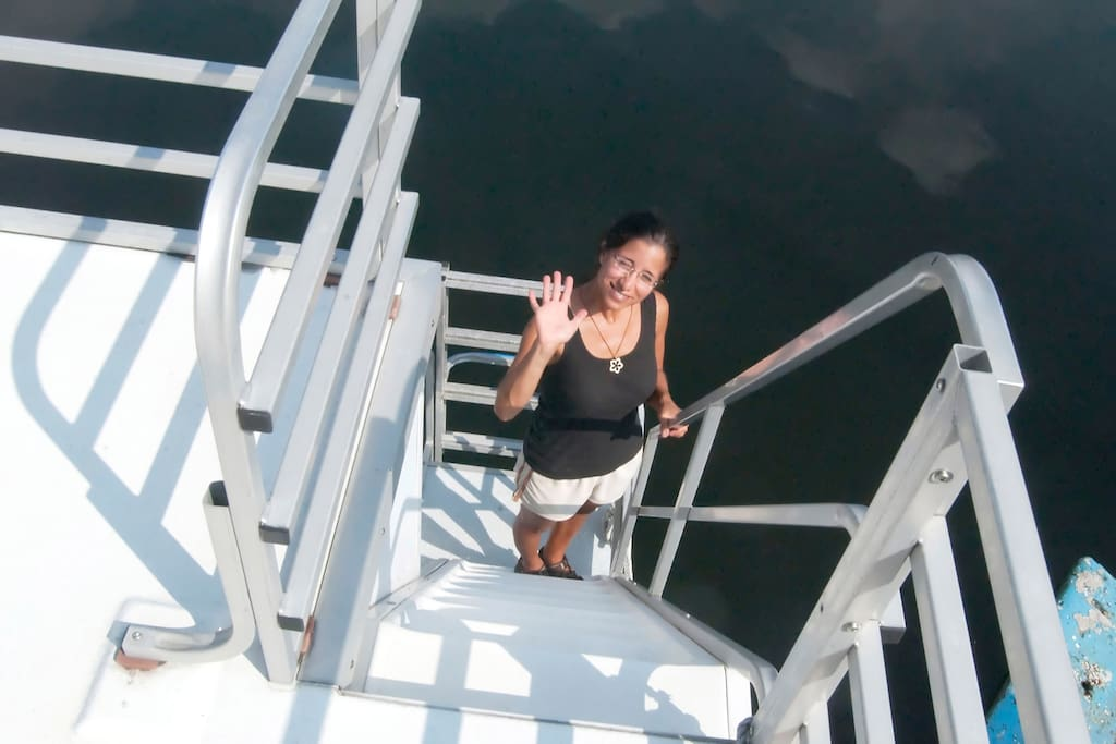 Lisa on the Stern Looking up Staircase to Upper Deck