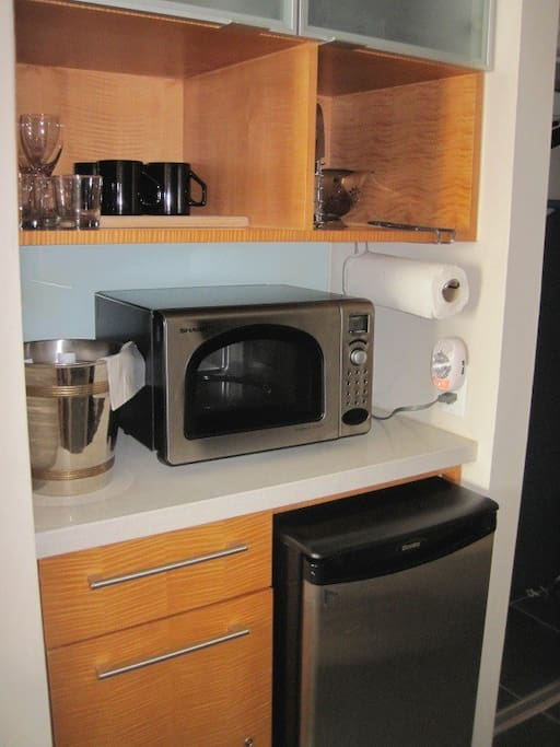 Kitchenette perfect for making light meals &  snacks with our microwave / toaster oven combination appliance!