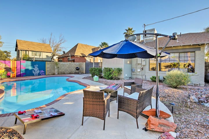Quaint Home w/ Pool + Mural: 2 Mi to Dtwn Phoenix!