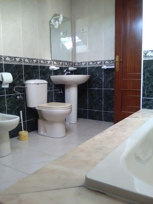 Spacious bathroom with a bathtube and a window