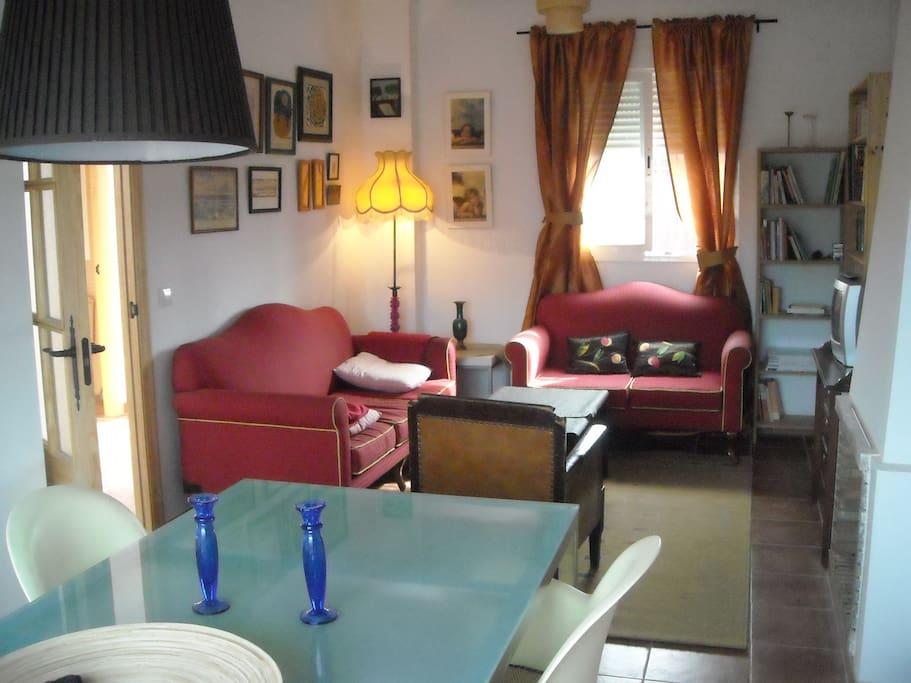 Vista del salón con la chimenea / dinning room and chimney