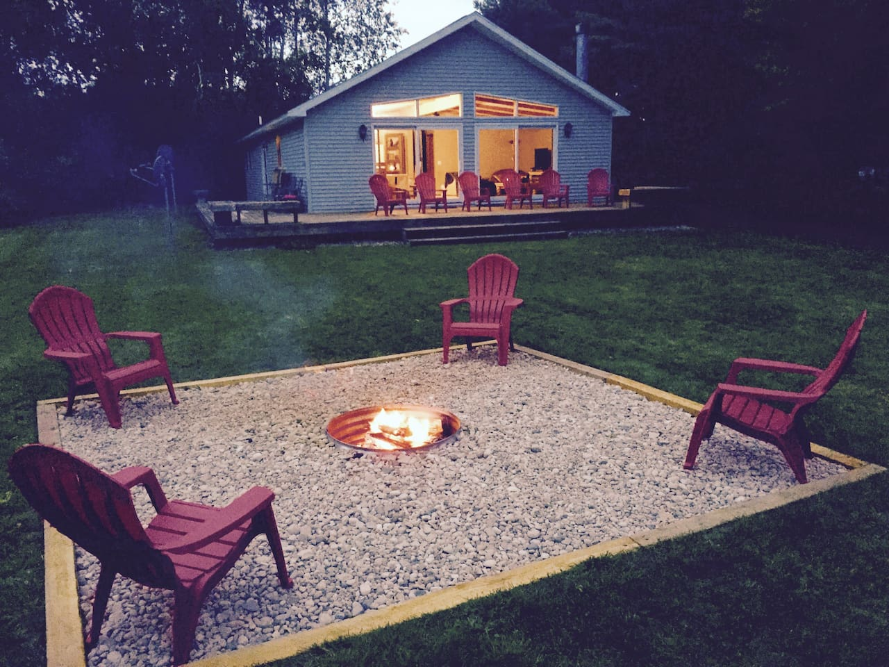Welcome to Hidden Springs. Wrap around deck & fire pit with cooking grate.