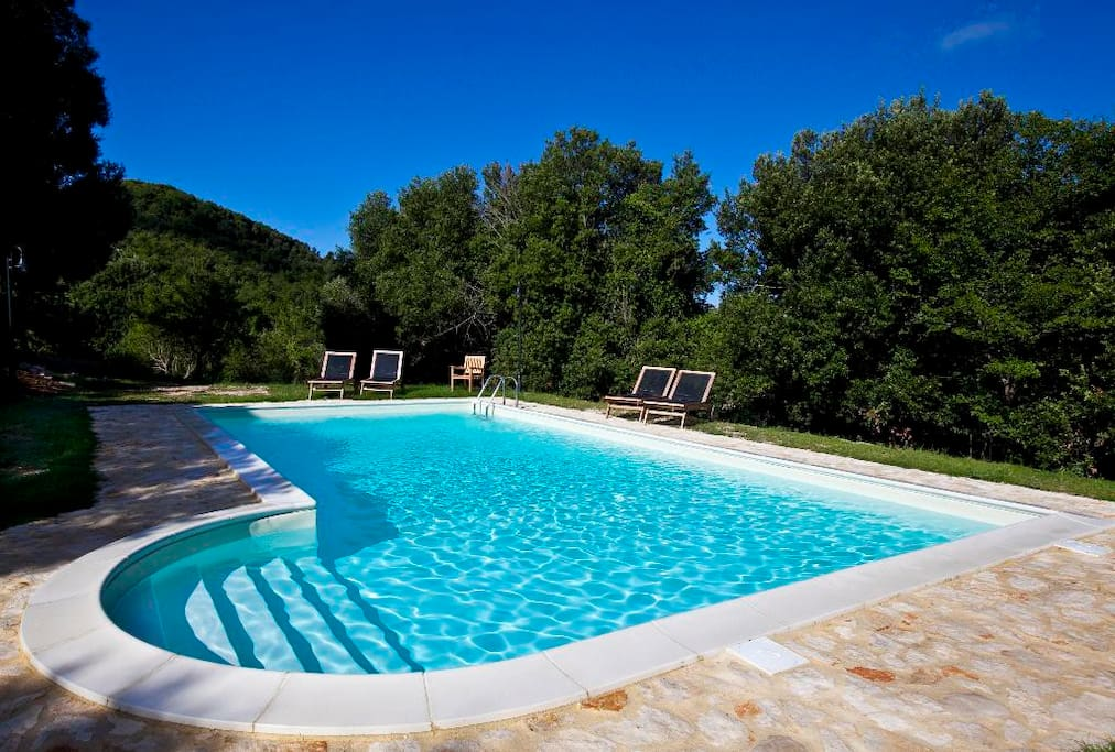 Swimming pool with wooden deck chairs