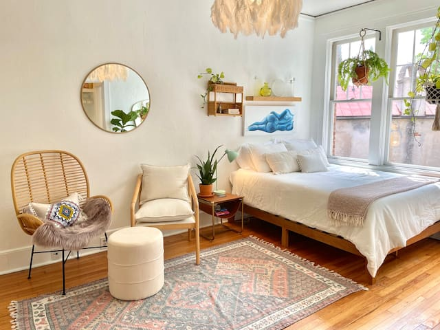 The perfect Boho Chic Studio to call home-for-now in Downtown Charleston