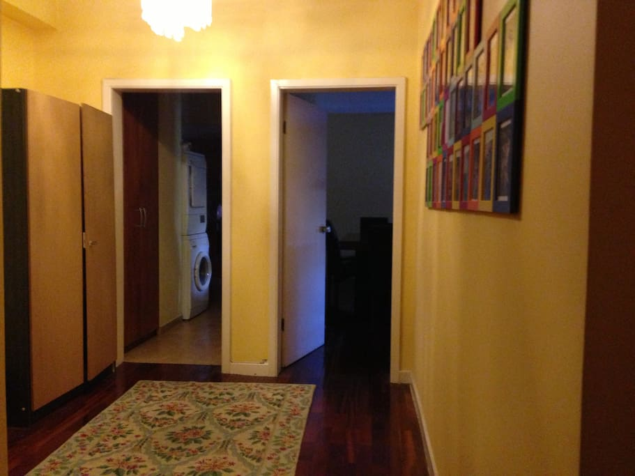 Entrance of the apartment. Right - Living and Dining Room. Forward - Kitchen and Studio. Left - Rooms and Bathrooms