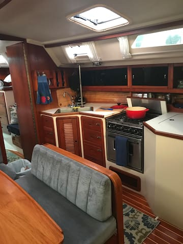 Galley with fully equipped kitchen