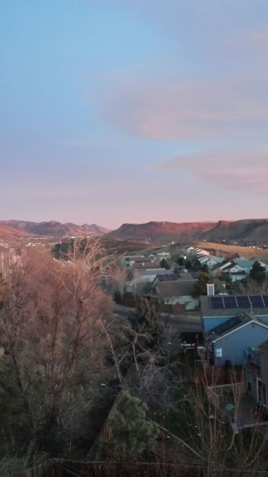 Beautiful views of mesas from  room windows and outside patio in the foothills of Golden