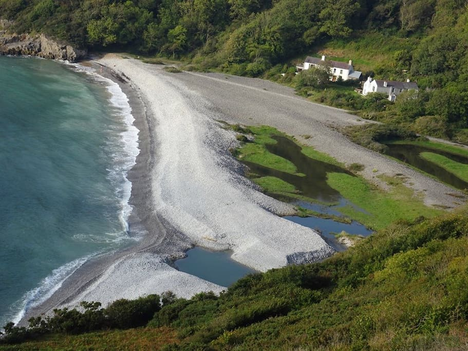 The spectacular smuggling bay of Pwll du, a 10 minute coastal walk away....