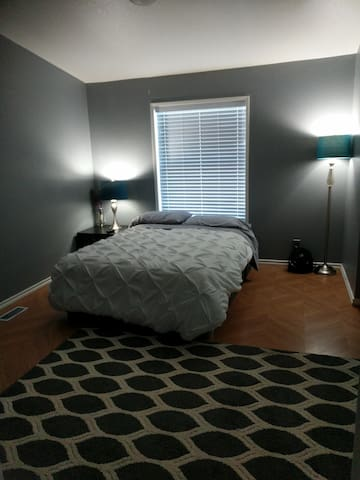 This is the room. It has a comfortable and new full size bed. I can also set up a second blow up matress on the ground if need be!