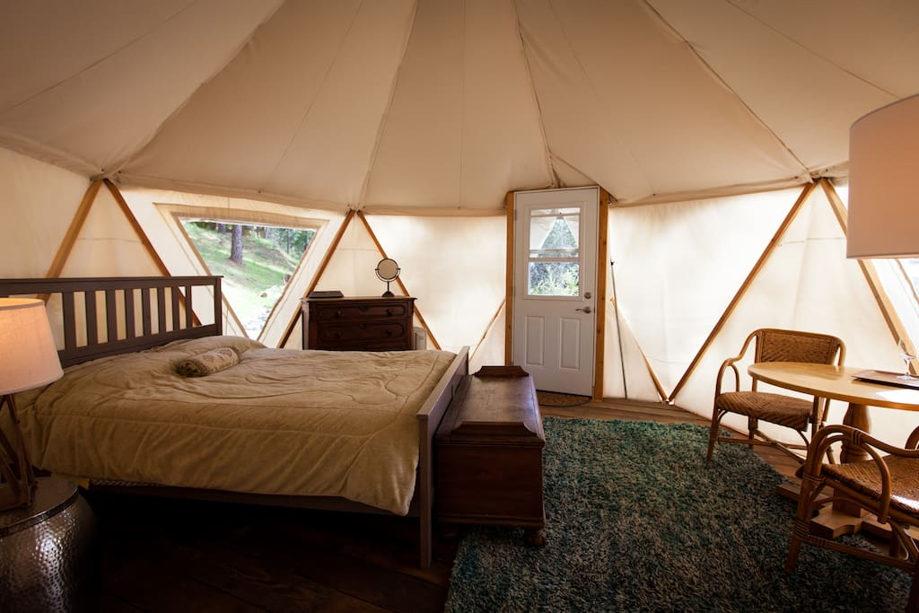 Our luxurious yome (yurt/dome = yome) by day.