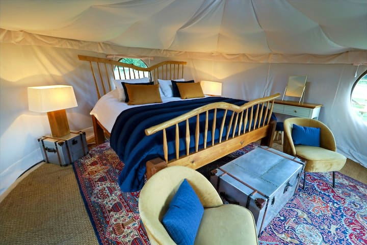 Luxury Yurt Glamping with 6 Acres & Swimming Lake