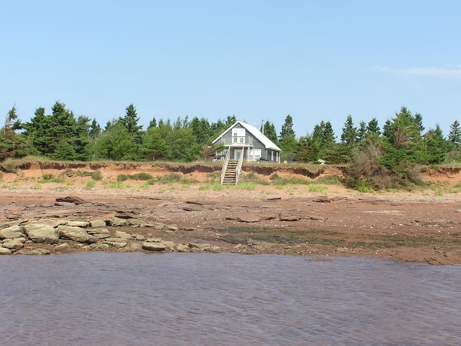 View of the cottage from low tide