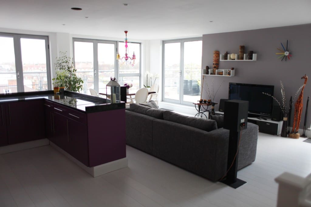 Kitchen/lounge, TV, home theatre, and the glass doors onto the terrace