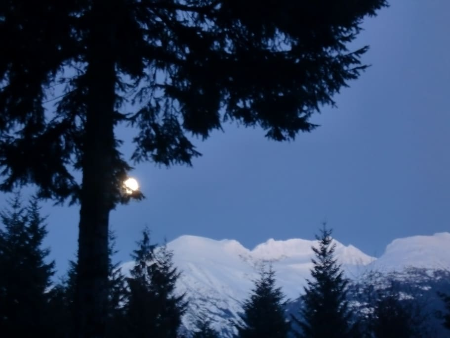 View from front window of armchair glacier, under full moon.