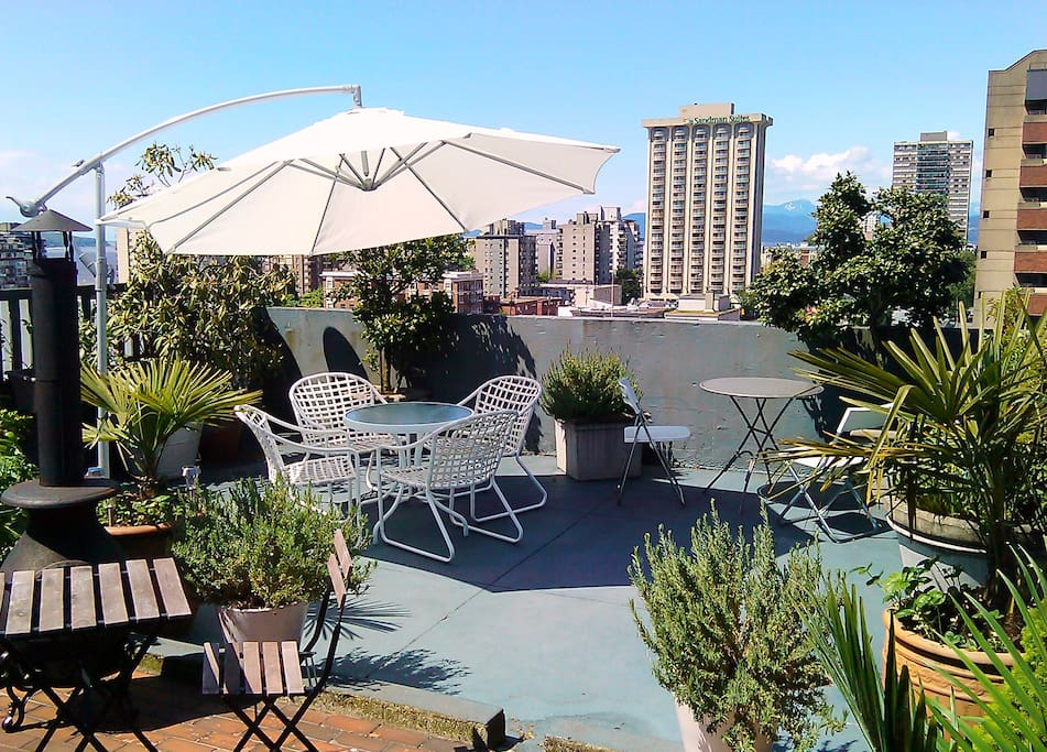 The private rooftop patio with mountain views, 10 storeys above the street. In a city where most apartments are the size of shoe boxes, this is the mother lode: a real terrace to call your own.