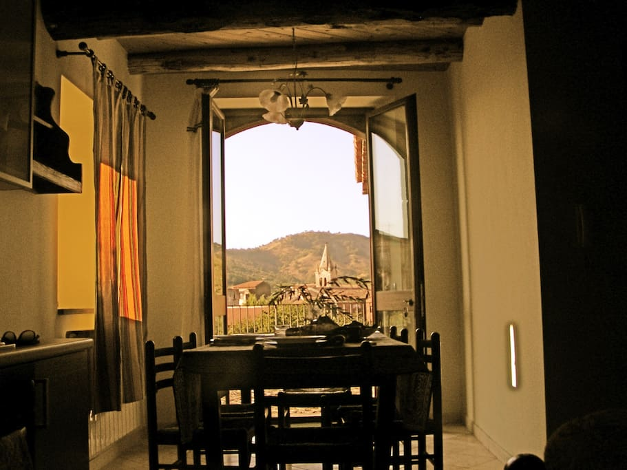 view of the hills and one of the most ancient church of the village from the kitchen ,