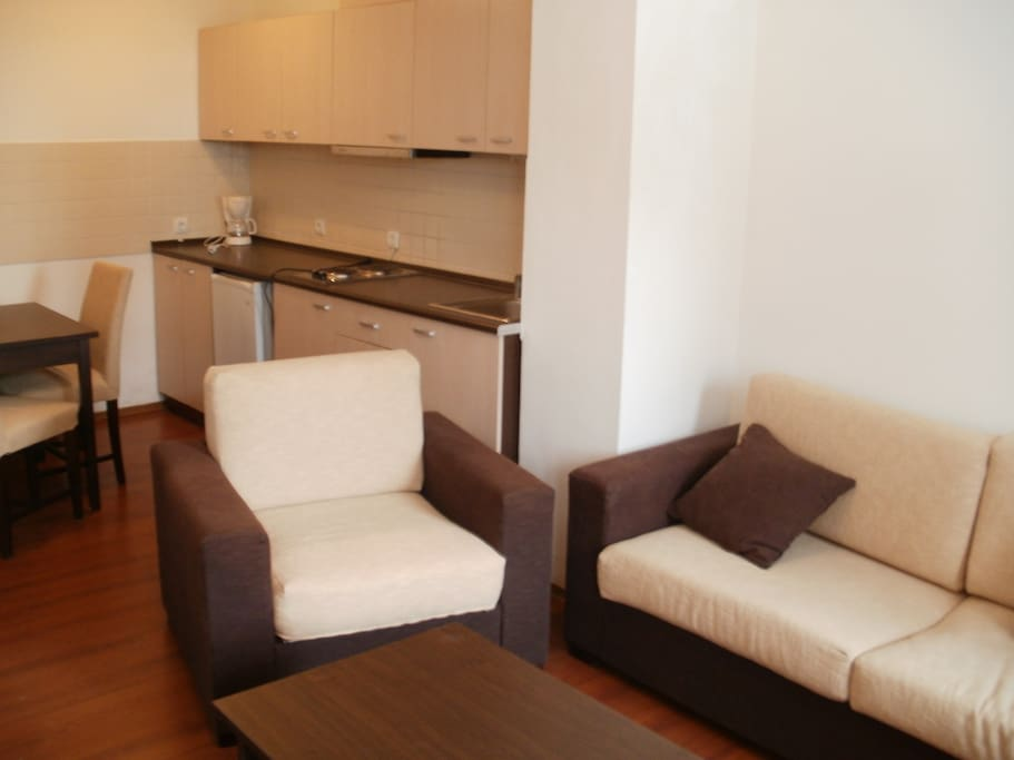 sitting room with kitchen unit