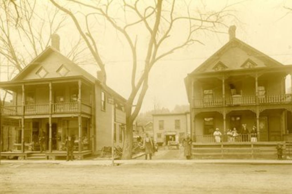 Very early 1900's  my house on the right and the blacksmith shop at the rear