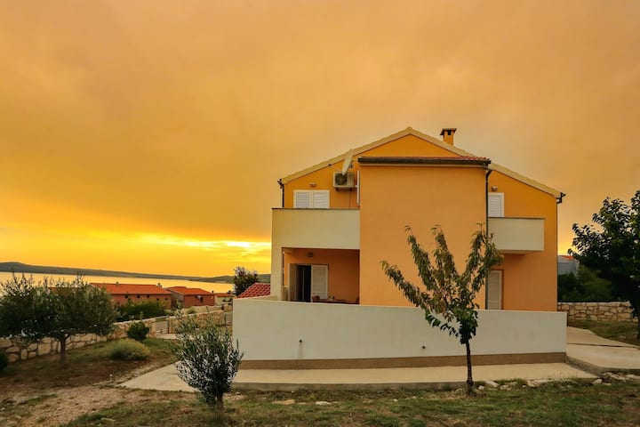 Spasious two storey holiday home with great sea view terrace, 300m from the sea