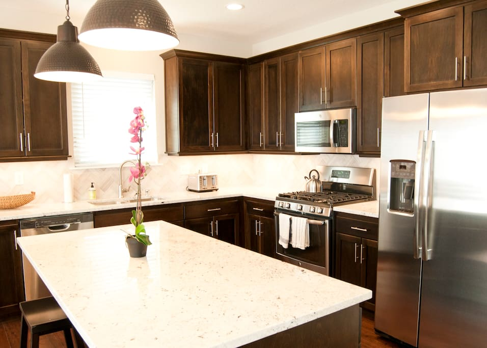 Granite countertops with plenty of prep space.