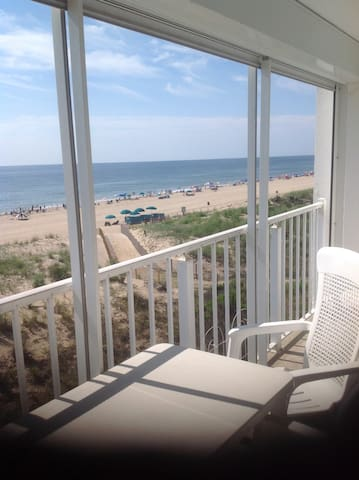 Ocean front condo with 2 private parking spaces.