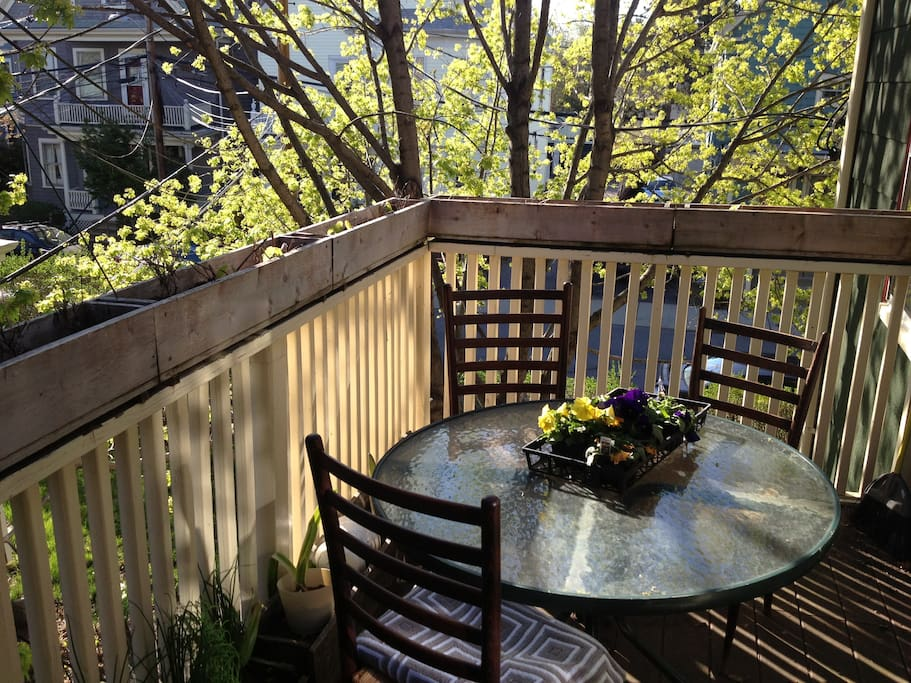 Our cozy deck off dining room for sipping coffee and tea, reading the paper